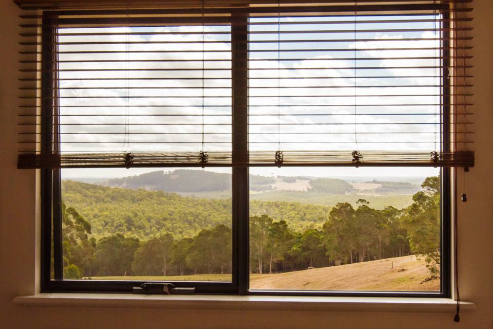 One of the views from the Redgum chalet with karri forests stretching off to the horizon.